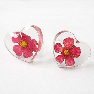 Boucles d'oreilles Fleur Coeur Rose - Bijou nature en résine de fleurs