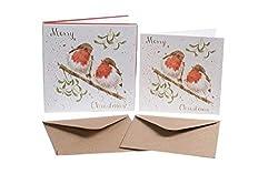 Weihnachtskarten (wre6416)-Robins & Mistelzweig-Box von 8-Wrendale Designs