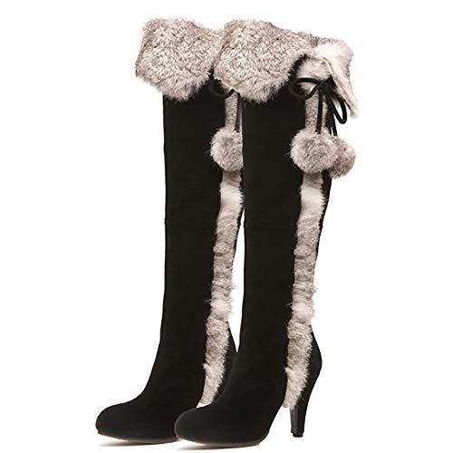 HXWS Für Frauen über das Knie Stiefel, Rindfleisch Tendon Leder Tassel-Schnee-Aufladungen, Block Schuhe Stiefel, Overknee-Stiefel Frauen, Velvet Hare-Pelz-Gras über das Knie Stiefel,36