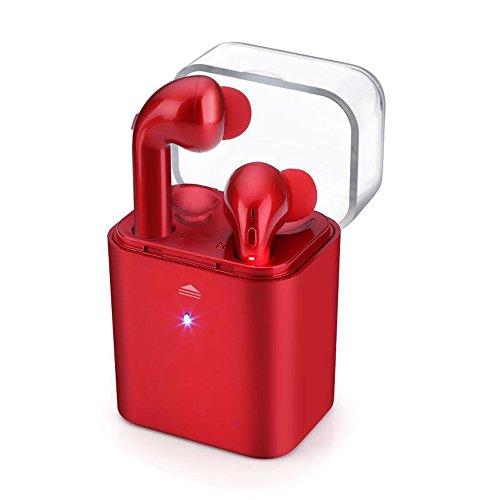 iPhone 7 auriculares, KanLin1986 gemelos inalámbricos auriculares Bluetooth estéreo en el oído auriculares Auriculares (tamaño mediano)(como los airpods)(rojo)