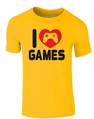 Brand88 - I Love Games, Erwachsene Gedrucktes T-Shirt Gänseblümchen-Gelb/Schwarz