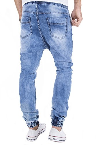 MERISH Herren Jeanshose Denim Chino Trend Joggingstyle Jeans Hose J719 Blau
