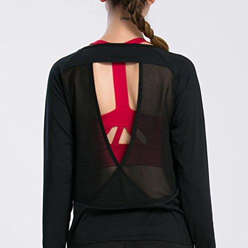 Zhhlaixing Fashion Womens Long Sleeve Performance Sports yoga Training Quick dry Top Black