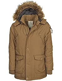 VEDONEIRE Mens Parka Jacket (3049 CAMEL) brown tan winter coat faux fur hood