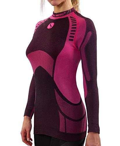 Sesto Senso® Donna Intimo Termico Maglia a Maniche Lunghe T-Shirt Funzionale Biancheria Intima Termoattivo (M, Rosa)