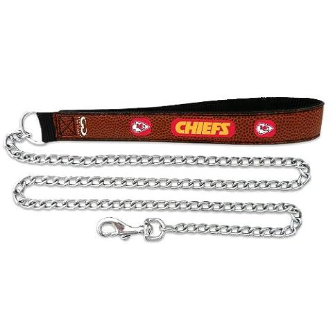 NFL Kansas City Chiefs Football Leather 3.5mm Chain Leash, Large