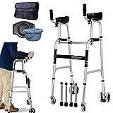 Deambulatore per anziani Walking Frames Telaio da passeggio con supporto per braccioli - Passeggino pieghevole per anziani - Passeggino leggero in alluminio - Allenamento per riabilitazione degli arti