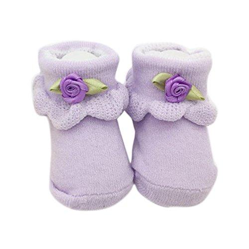 Blumen Babysocken, FNKDOR Baby Mädchen Gekämmte Baumwolle Elastizität Söckchen (Violett)