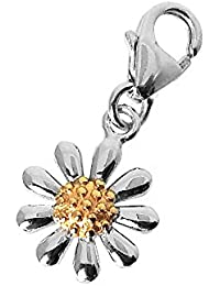Daisy Pendant, Fine Quality Sterling Silver with Gold Plated Centre, 30mm in Diameter.