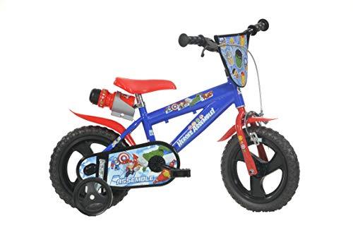 Dino Avengers Kinderfahrrad Marvel Jungenfahrrad 12 Zoll, Kinderrad mit Stützrädern und Trinkflasche -