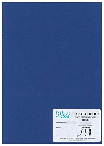 West Design RS261957 1 Skizzenbuch DIN-A5-Format, geheftet, 140 g, matt, Malen, Zeichnen und Schreiben, blau