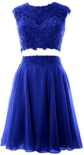 MACloth Women Vintage 2 Piece Prom Homecoming Dress Lace Wedding Party Gown (44, Royal Blue) (Illusion Dress Blue)