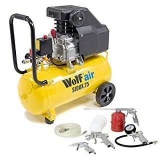 Wolf Sioux 24L Air Compressor 2.5HP Motor 9.6 CFM 116 PSI 230V with 5 Piece Air Tool Kit