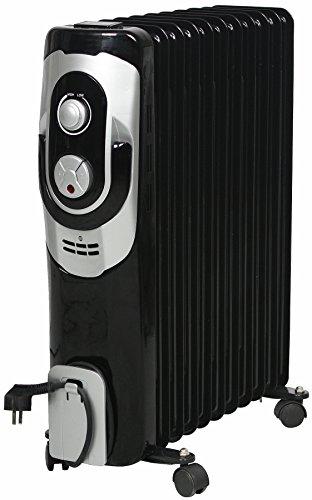 El Fuego® Mobiler Elektro-Ölradiator/ Elektroheizung/ Heizkörper elektrisch, mit 11 Rippen, 2500 W, Thermostatregler, Kippschutz + Überhitzungsschutz, mit 4 Rollen, Schwaz, AY 704