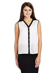 Allen Solly Womens Button Down Shirt (AWTS316T00252_Black Solid_XL)