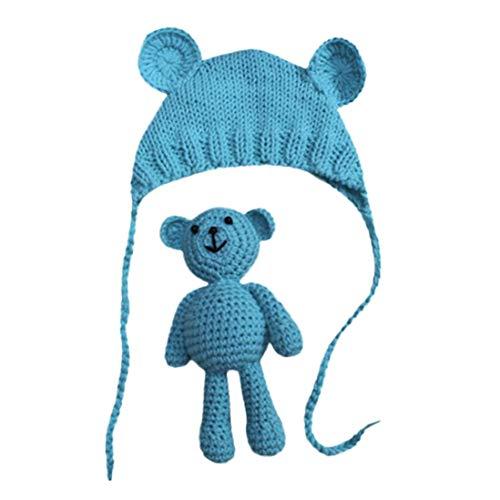 FeiliandaJJ Neugeborene Hut Stretch Stricken Foto Baby Hut + Teddybär Kostüm Fotografie Requisiten (Blau) (Sommer Stricken Hut)
