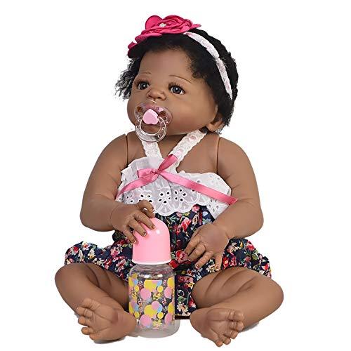 HCC Afrikanisch amerikanisch Schwarz Wiedergeborenes Baby Puppe 5 -Teiliges Geschenkset, 24 Zoll / 57 cm Sanft Berühren Waschbar Vinyl Ganzkörper & Gewichtet Karosserie