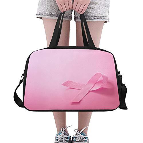 Yushg Pink Ribbon Breast Cancer Awareness große Yoga Gym Totes Fitness Handtaschen Reise Seesäcke mit Schultergurt Schuhbeutel für die Übung Sport Gepäck für Mädchen Frauen Frauen Outdoor