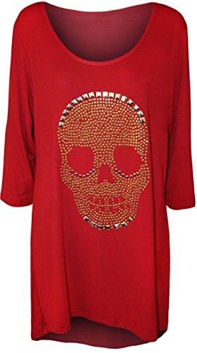 WearAll - Damen Übergröße Schädel druck endstück zurück dip saum lange rundem halsausschnitt ärmel Top - Rot - 46 (Nur Abschläge Lange)