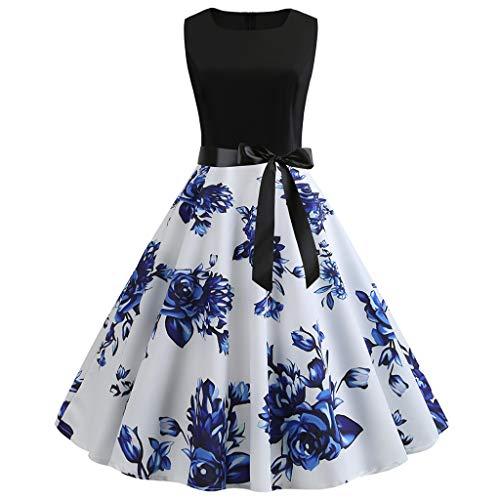 Momoxi Kleid,Damen Frauen Vintage 50er Jahre Retro ärmellose O Neck Print Abend Party Prom Swing Dress