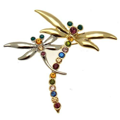 Schmuck Kostüm Libelle (Acosta Jewellery Brosche–Kristall–mehrfarbig RAINBOW Brosche Libelle–Frauen Kostüm Schmuck)