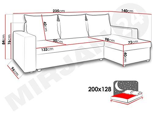 Ecksofa Top Lux! Sofa Eckcouch Couch! mit Schlaffunktion und zwei Bettkasten! Ottomane Universal, L-Form Couch Schlafsofa Bettsofa Farbauswahl (Soft 011 + Lawa 06) - 5