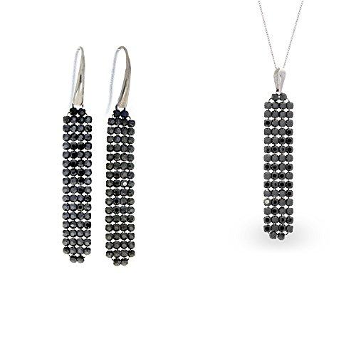 Spark swarovski elements de longues boucles d'oreille pendantes argent fin 925/1000 et chaîne en maille noir
