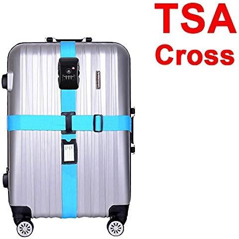 CSTOM Cinghia Cintura Sicurezza con TSA e Lucchetto a Combinazione per Valigia Bagaglio - Quadrante Blu Unisex