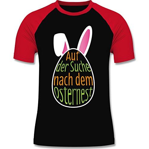 Ostern - Auf der Suche nach dem Osternest - zweifarbiges Baseballshirt für Männer Schwarz/Rot