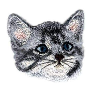 ÉCUSSON PATCH Petit chat tigre ** 6 x 5,5 cm ** Applique brodée thermocollante