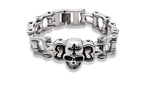 Crâne Lien Acier inoxydable Unisexe Crâne Bracelet Vélo gothique élégant Bangle