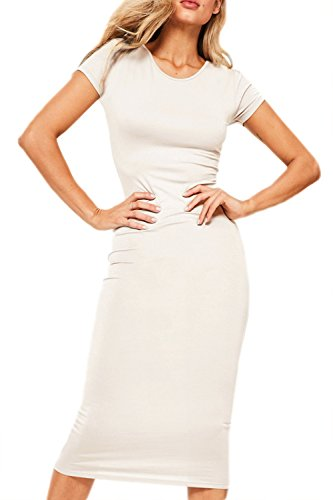 Le Donne Si Bodycon Tratto Night Vestito In Maniche Corte Midi White