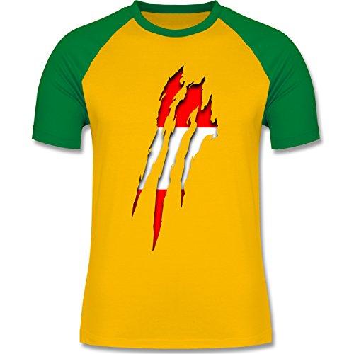 Länder - Österreich Krallenspuren - zweifarbiges Baseballshirt für Männer Gelb/Grün