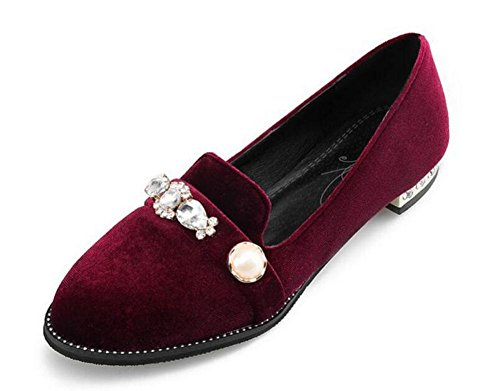 Corte di donne scarpe diamante velluto Retro scarpe chiuse pompe dei sandali scarpe piane wine red