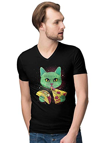 T Green Tops Novelty Shirt Camisetas Eating Taco x Pizza Space Large And V Neck Y Men's Cat NOn0wv8m