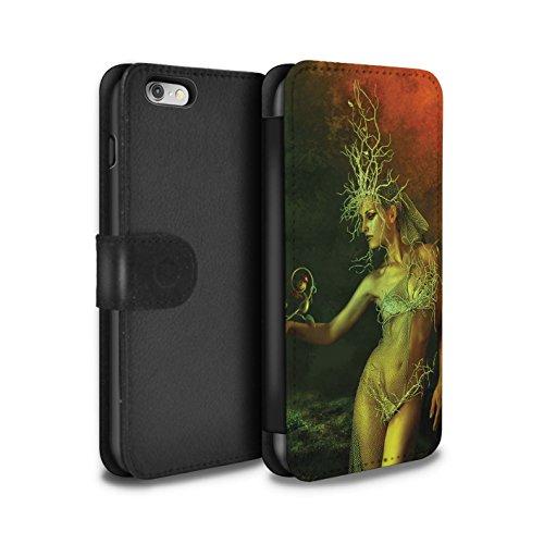 Officiel Elena Dudina Coque/Etui/Housse Cuir PU Case/Cover pour Apple iPhone 6 / Par le Vent Design / Un avec la Nature Collection Reine des Forêts