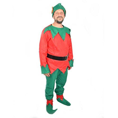 Gifts 4 All Occasions Limited SHATCHI-1461 SHATCHI - Disfraz de elfo de Navidad para adulto, unisex, color rojo y verde