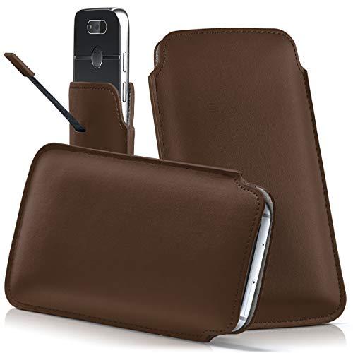 moex Emporia Flip Basic | Hülle Braun Sleeve Slide Cover Ultra-Slim Schutzhülle Dünn Handyhülle für Emporia Flip Basic Case Full Body Handytasche Kunst-Leder Tasche
