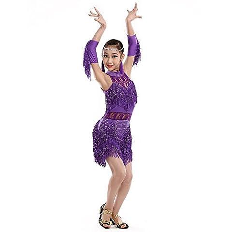 Saloon Fille Costume Violet - Lacet pompons filles latine de vêtements de