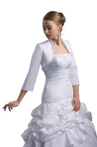 Bolerojacke Brautkleid Brautjacke Gr. S-XXXL - Taft - E55T (M, weiß) (Brautkleider Zubehör)