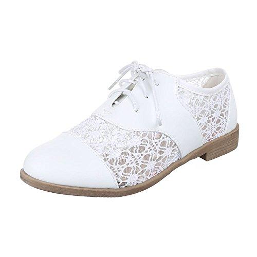 Damen Schuhe, L5106, HALBSCHUHE SCHNÜRER OXFORD BLOCKABSATZ Weiß