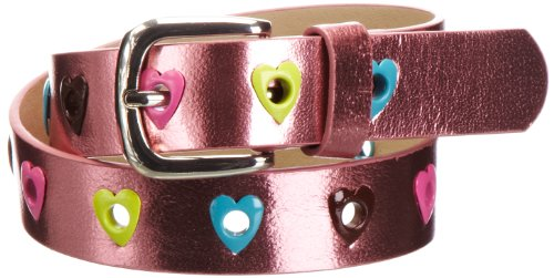 Playshoes Mädchen Gürtel 601330 Mädchen Glitzer Gürtel mit Herzchen, Gr. 55, Mehrfarbig (pink)