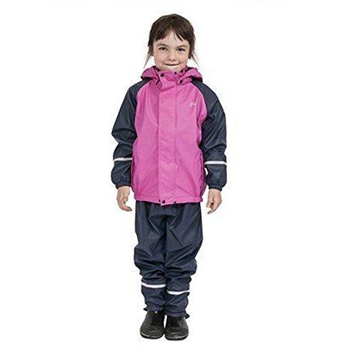 Elka Regenanzug Regenhose + Regenjacke für Kinder, gestreift und einfärbig Farben viele Größen 220g/Polyester (74/80, Marine Pink mit Flecee...
