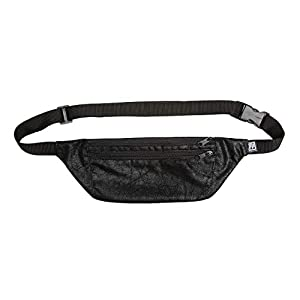 Bauchtasche flach, schwarz Vintage-Kunstleder, Hip bag, shoulder bag, fanny pack, Hüfttasche, belt bag, sac banane, cross bag