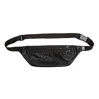Bauchtasche flach, schwarz Vintage-Kunstleder, Hip bag, shoulder bag, fanny pack, Hüfttasche, belt bag, sac banane, cross bag