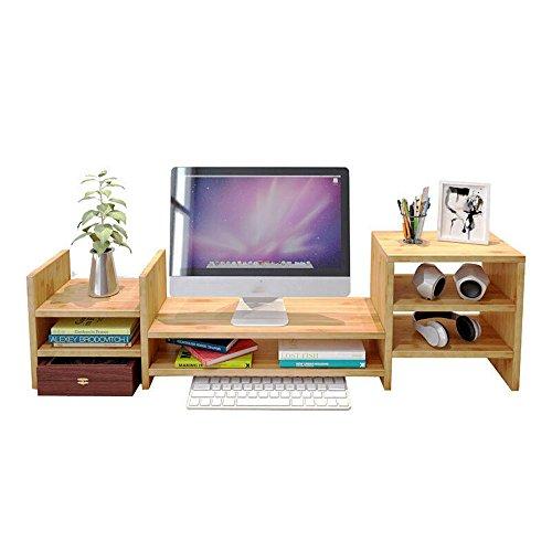 JYZJ Bambus Holz TV Bildschirm Computer Monitor Standfuß, 2-Tier Desktop Lagerregal/Bücherregal (Größe: L) -