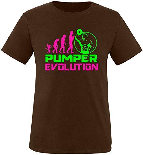 EZYshirt® Pumper Evolution Herren Rundhals T-Shirt Braun/Pink/Neongr