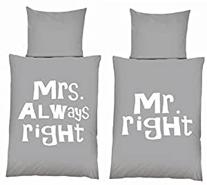mikrofaser wende bettw sche set schriftzug mr right mrs. Black Bedroom Furniture Sets. Home Design Ideas