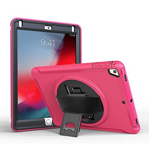 Pro iPad 10,5 Zoll Fall Damen, Stoßfest Robust Ganzkörper Silikon Anti Rutsch Schutzhülle mit Ständer Einstellbare Handschlaufe für iPad Air 3rd 10,5 Zoll (Pink) - Ipad Handschlaufe Air