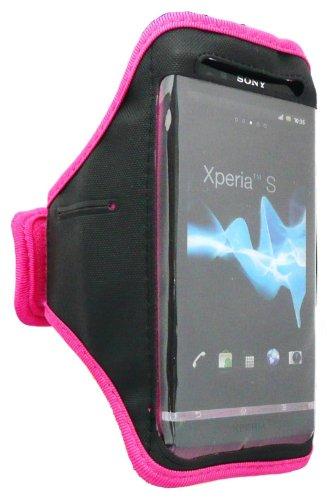 Emartbuy ® Hot Pink / Schwarz Weichen Samt Fertig Sports Armband (Größe 3Xl) Mit Klettverschluss Passend Für Sony Xperia S